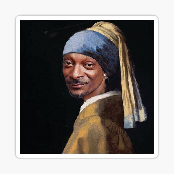Snoop Dogg, Snoop, Hund, Rapper mit Perlenohrring, Mädchen mit Perlenohrring, Johannes Vermeer, berühmtes Gemälde, Meisterwerk Sticker