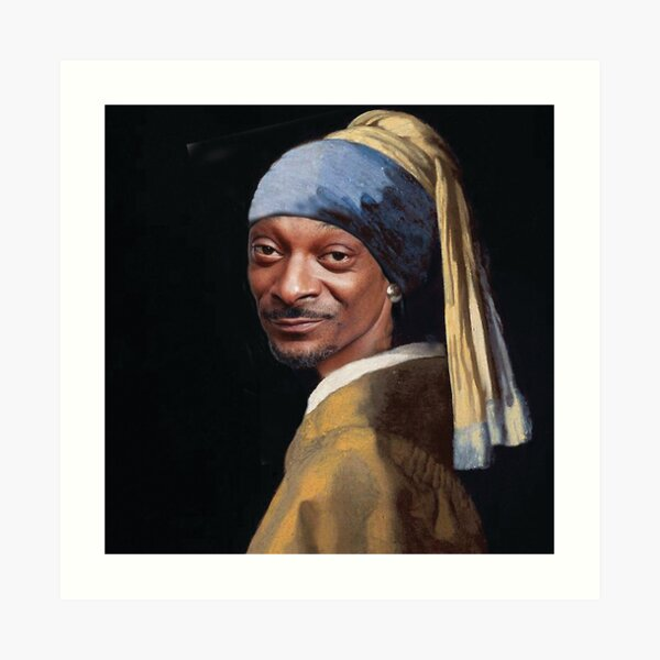 Snoop Dogg, Snoop, Dog, Rapper with a pearl earring, Girl with a pearl earring, Johannes Vermeer, famous painting, masterpiece Art Print