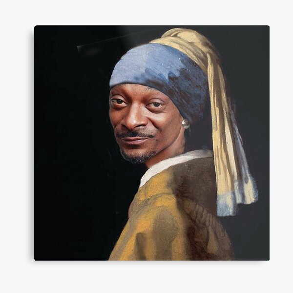 Snoop Dogg, Snoop, Dog, Rapper with a pearl earring, Girl with a pearl earring, Johannes Vermeer, famous painting, masterpiece Metal Print