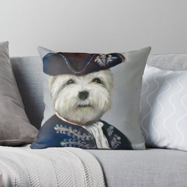 Quirky Anthropomorphic Prince Poodle Portrait Painting Throw Pillow