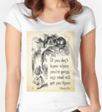 Alice in Wonderland Quote - Any Road - Cheshire Cat Quote - 0106 Women's Fitted Scoop T-Shirt