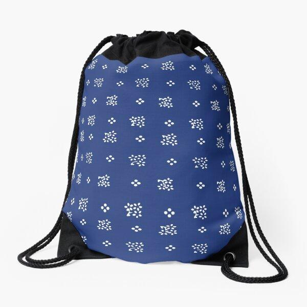 Historic vintage scatter flowers modern dark blue Drawstring Bag