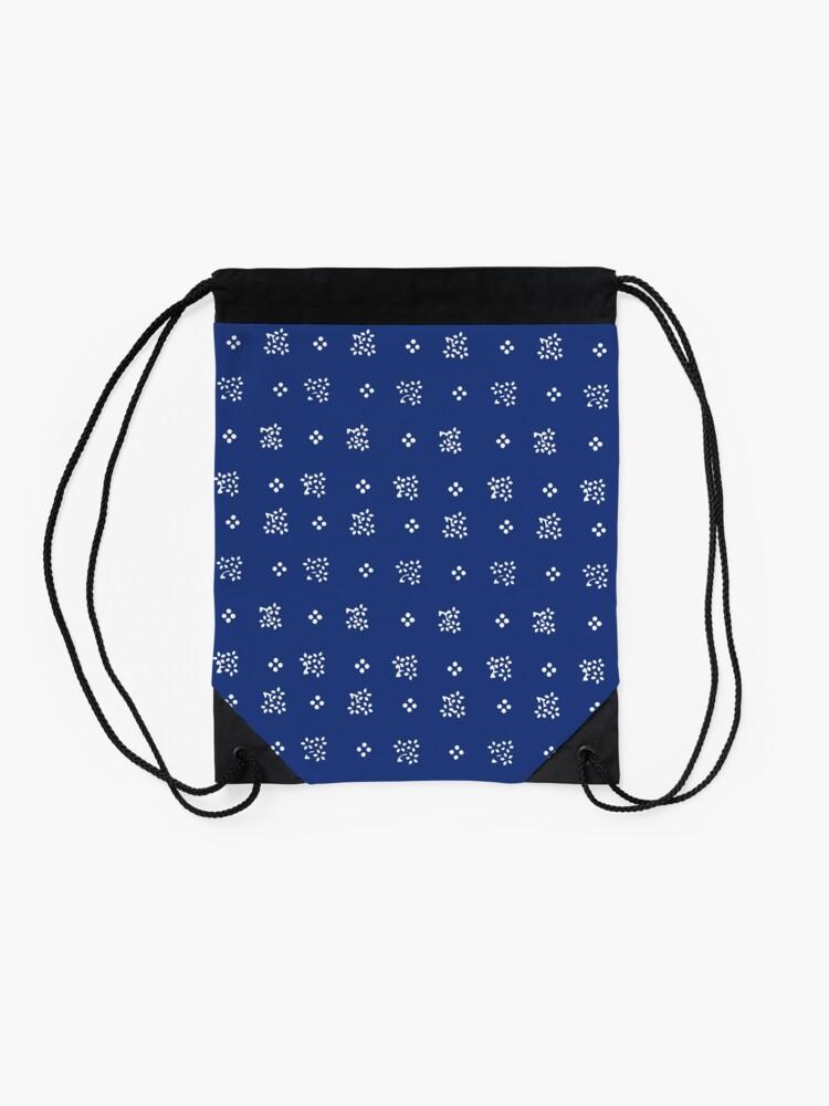 Alternate view of Historic vintage scatter flowers modern dark blue Drawstring Bag