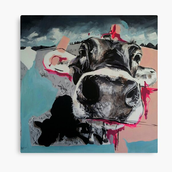 Cow close up & nose painting  - I am clever no matter what they say Canvas Print