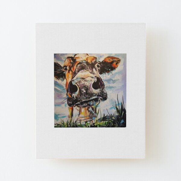 COW LUCY - cow close up, cow head painting, cow & cowbell, cow snout Wood Mounted Print