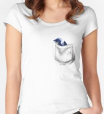 Little Dragon In My Pocket 1 - Blue Women's Fitted Scoop T-Shirt