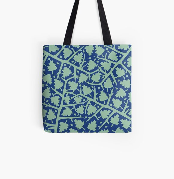 Hawthorn Tree pattern blue/mint All Over Print Tote Bag