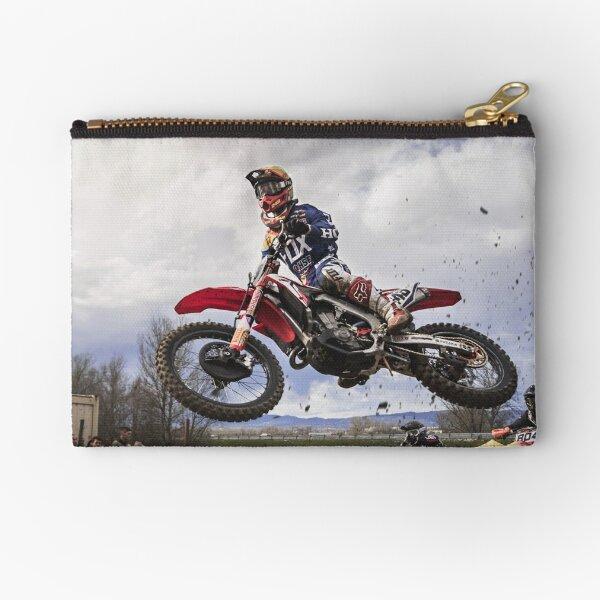 Motocross Racer Grabbing Big Air Zipper Pouch