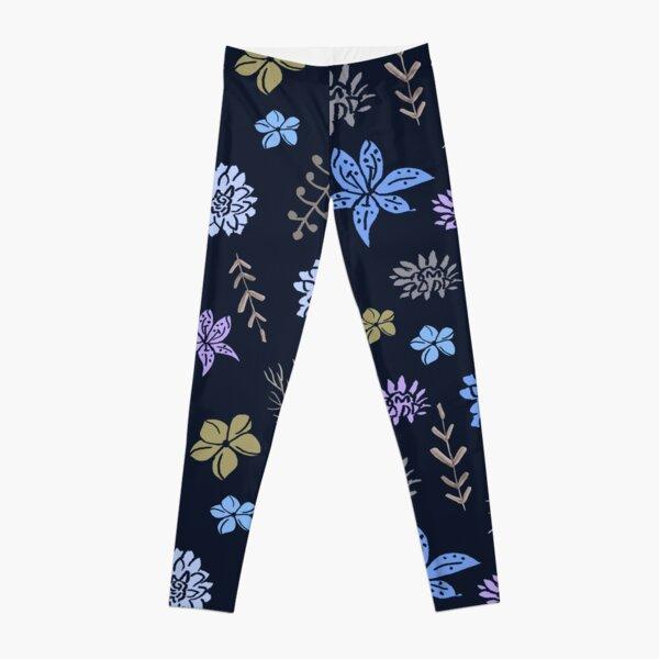 Stencil flowers mauve colourway Leggings