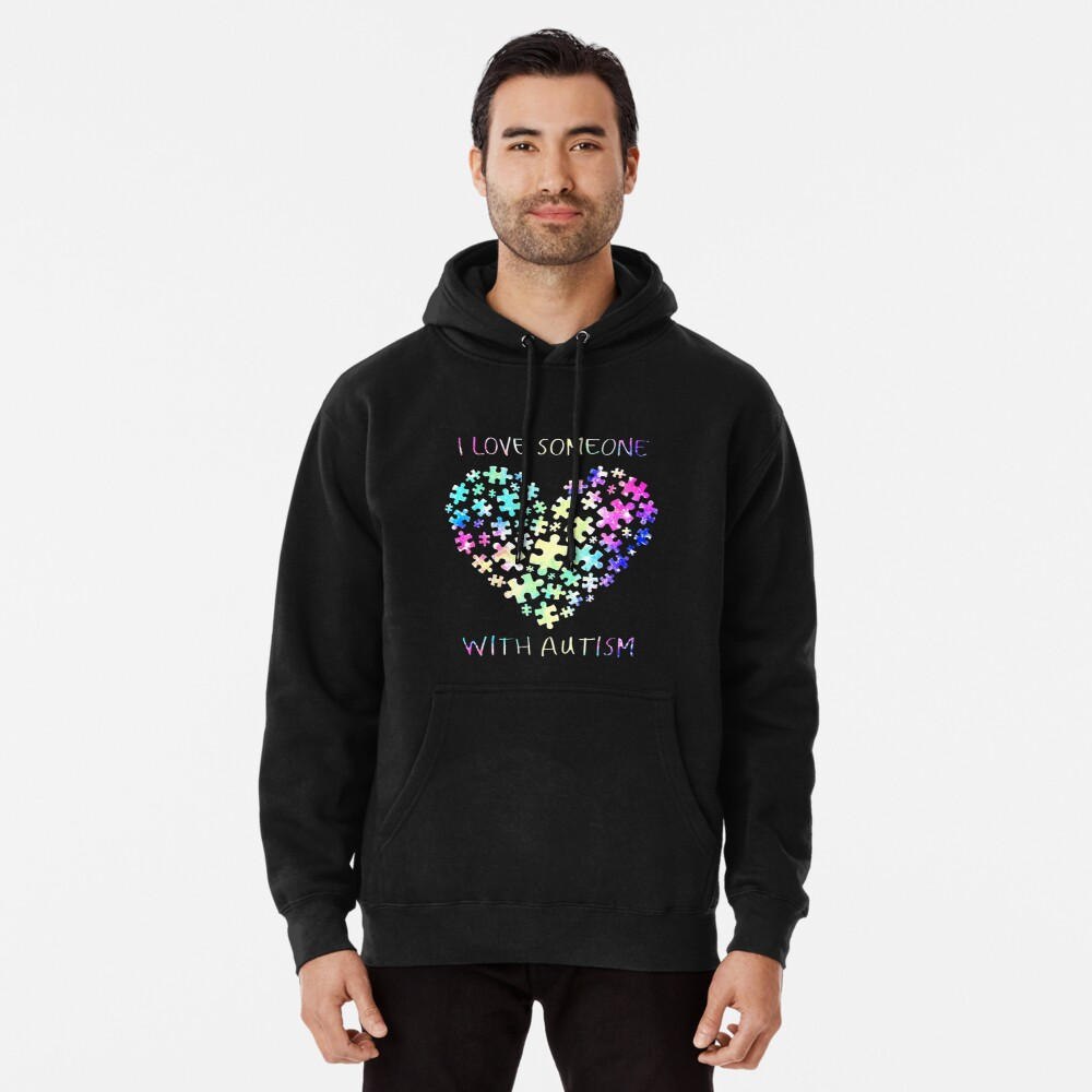 I Love Someone with Autism Womens Pullover Sweatshirt Long Hoodie Dress Sportswear with Pockets