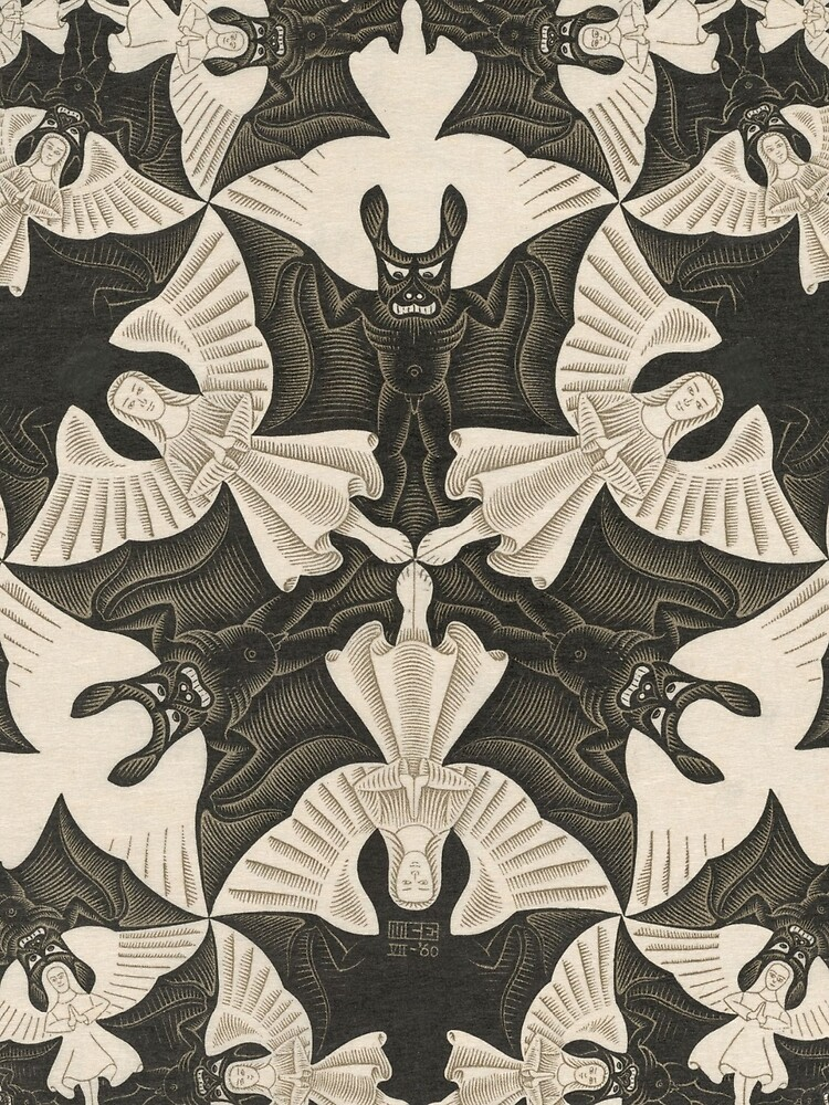 Escher - Circle limit IV (heaven and hell)  by billythekidtees
