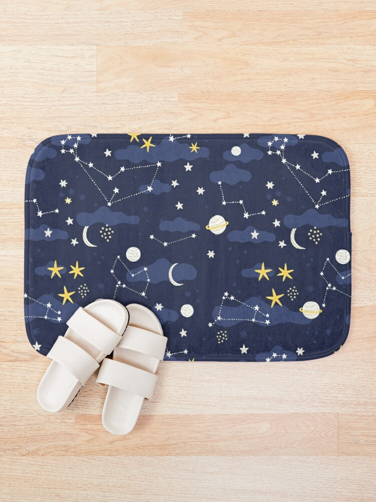 Alternate view of cosmos, moon and stars. Astronomy pattern Bath Mat