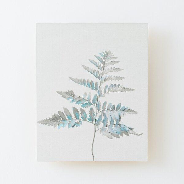 Elegante helecho de invierno - Azul pastel y gris Lámina montada de madera