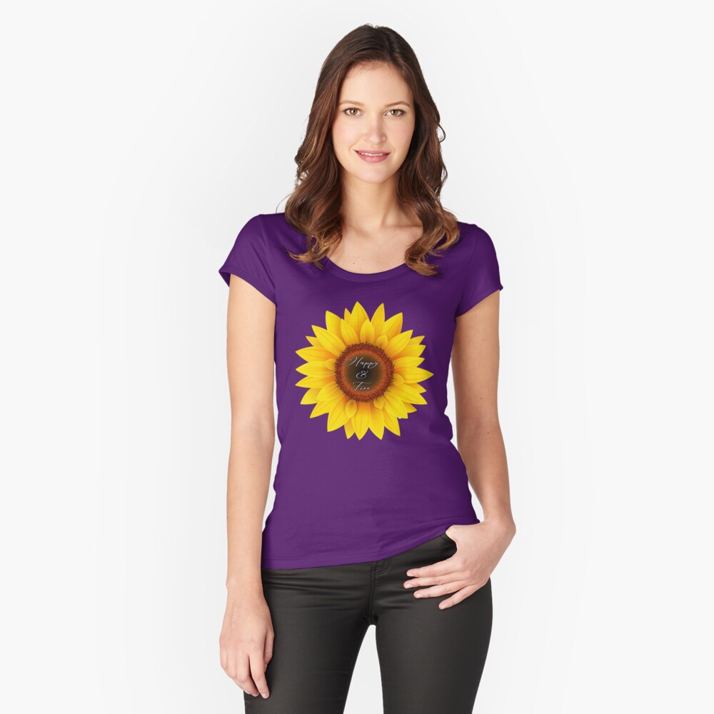 Happy and free sunflower Fitted Scoop T-Shirt
