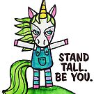 Stand Tall. Be You. Unicorn Drawing Watercolor illustration by mellierosetest