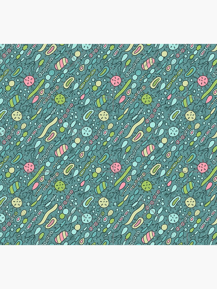Microbes pattern. Bacteria design for biology lovers. by kostolom3000