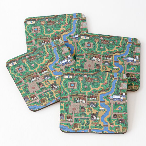 Stardew valley town map Coasters (Set of 4)