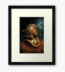 Steampunk - Diving - The diving helmet Framed Print