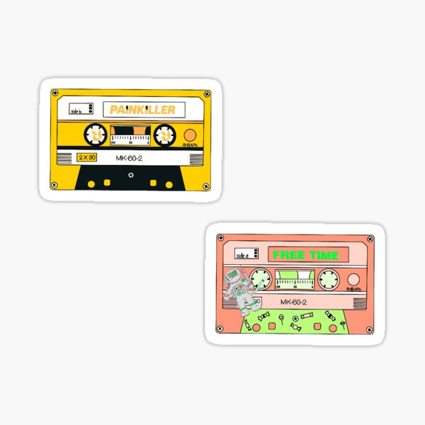 free time and painkiller cassette tape duo  Sticker