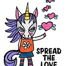 Spread the Love: Unicorn Drawing Watercolor Illustration by mellierosetest
