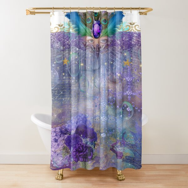 Peacock Queen Whimsical Bubble Realm Shower Curtain
