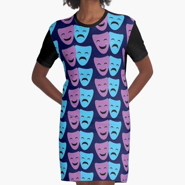Blue and Purple Comedy and Tragedy Drama Masks Graphic T-Shirt Dress