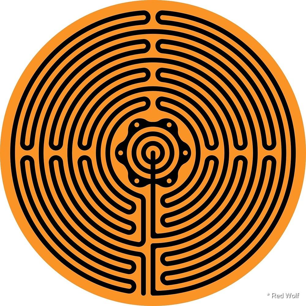 Geometric Pattern: Labyrinth: Orange Dark by * Red Wolf