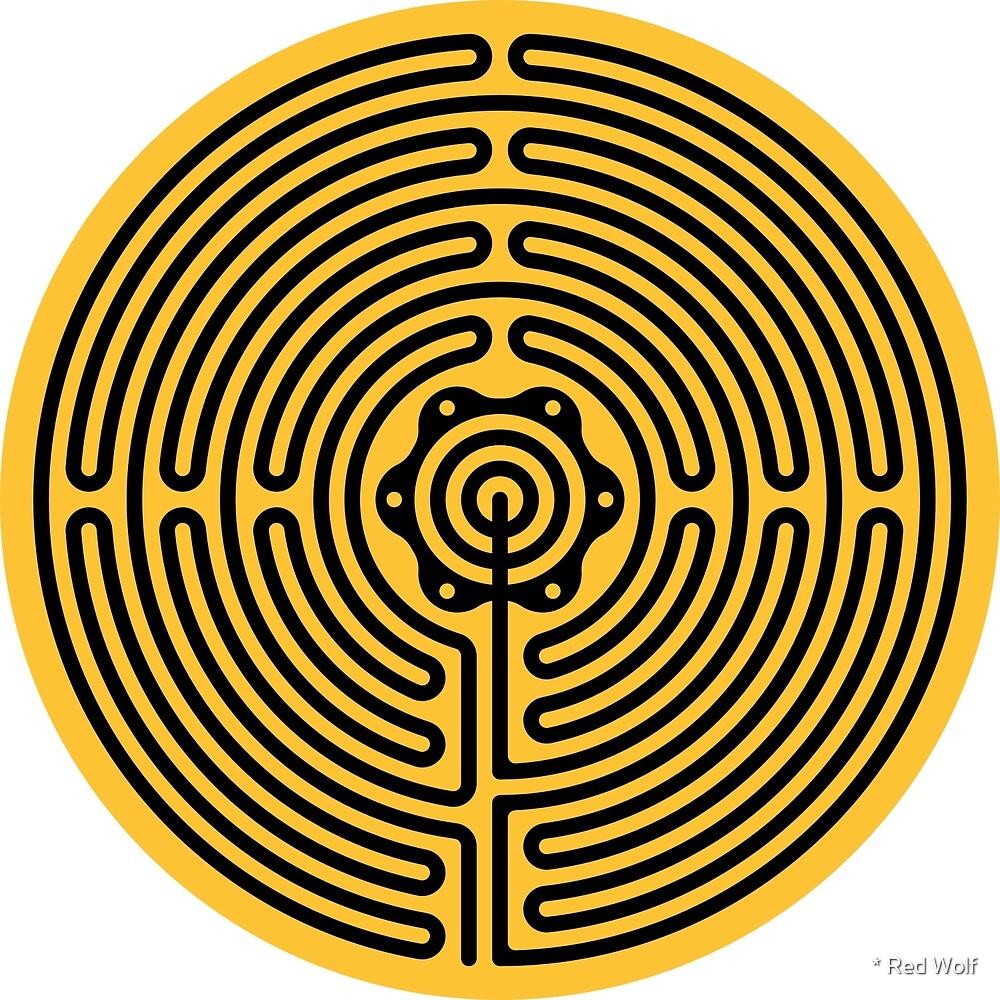 Geometric Pattern: Labyrinth: Yellow Dark by * Red Wolf