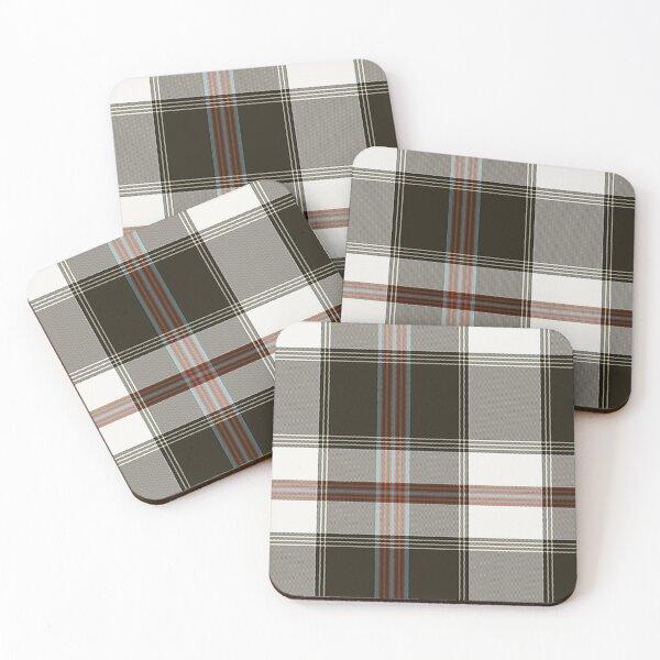 Brown-Cream-Red-Teal Plaid Coasters (Set of 4)