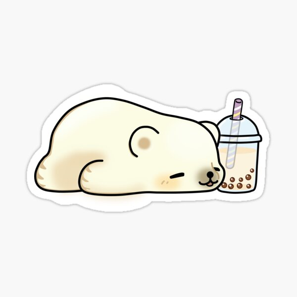 Little Polar Bear Chilling with it's Boba Tea Sticker
