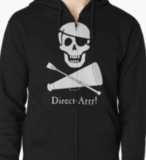 Direct-Arrr! White Design Zipped Hoodie