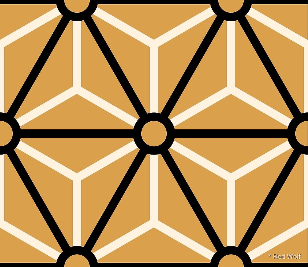 Geometric Pattern: Art Deco Star: Black/Cream/Gold by * Red Wolf