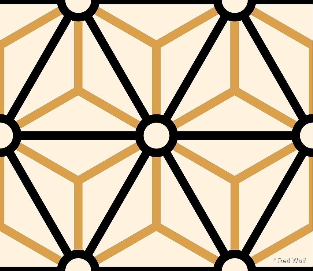Geometric Pattern: Art Deco Star: Black/Gold/Cream by * Red Wolf