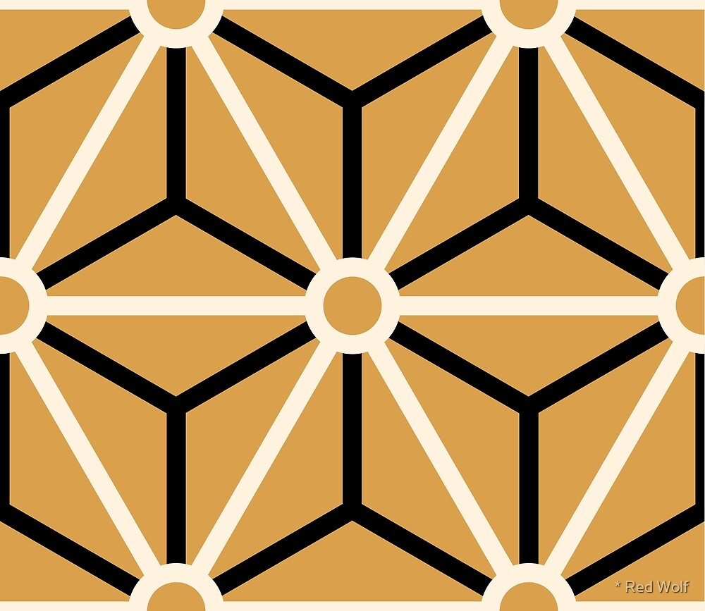 Geometric Pattern: Art Deco Star: Cream/Black/Gold by * Red Wolf