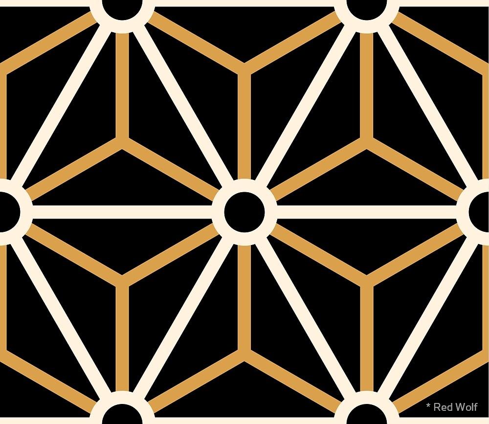 Geometric Pattern: Art Deco Star: Cream/Gold/Black by * Red Wolf