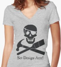 Set Design-Arrr! Black Design Women's Fitted V-Neck T-Shirt