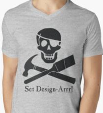 Set Design-Arrr! Black Design V-Neck T-Shirt
