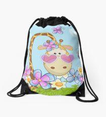 Giraffe and Flowers Drawstring Bag