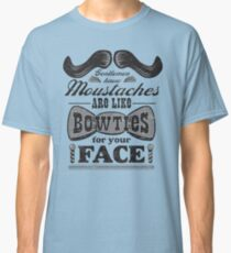 Moustaches: Bowties for Your Face (Black Type) Classic T-Shirt
