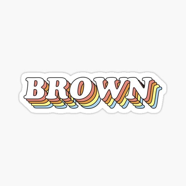 3D Retro Rainbow Brown Sticker