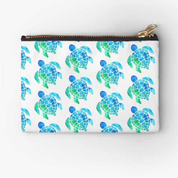 Blue Green Turtle Zipper Pouch