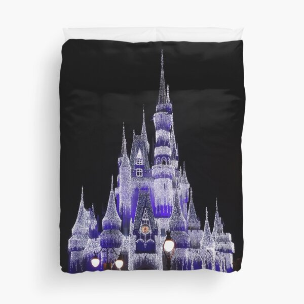 Magic Castle Lit With Christmas Lights by Orikall Duvet Cover