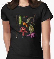 Orchids and Ink on Black Women's Fitted T-Shirt