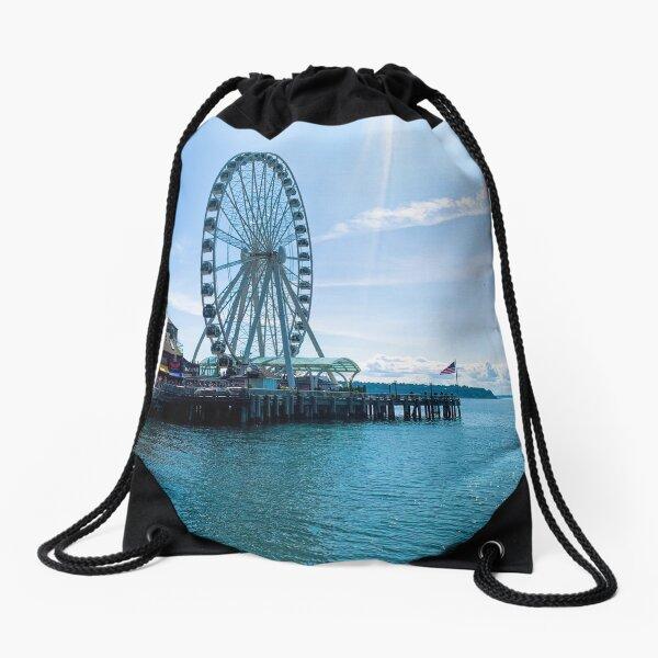 Seattle Waterfront Ferris Wheel Drawstring Bag