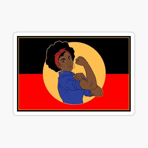Strong blak woman flag Sticker