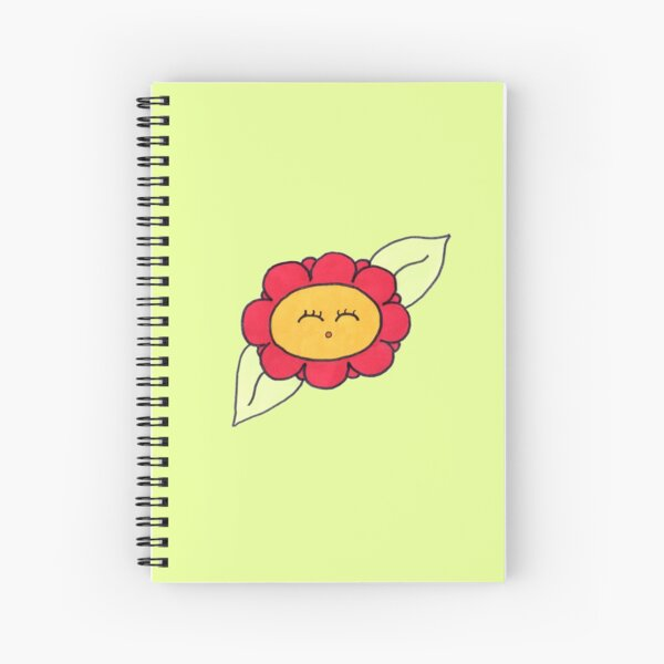 Copy of Cute red flower with green background  Spiral Notebook