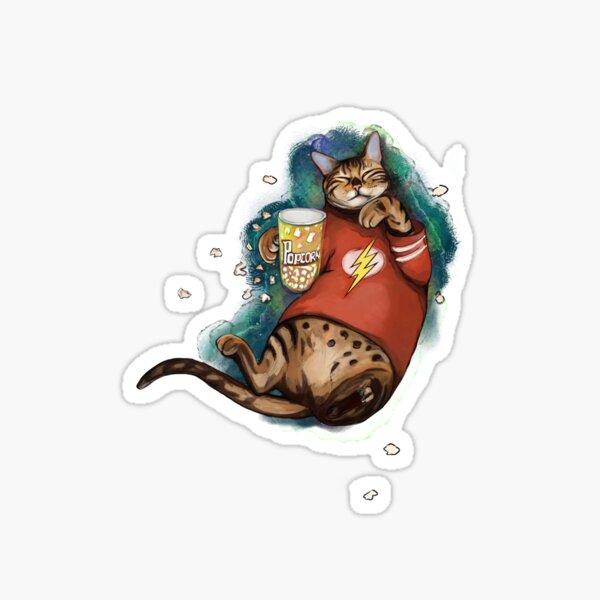 Bengal cat with popcorn , Cat cinemaholic eat popcorn And bingewatching  Sticker