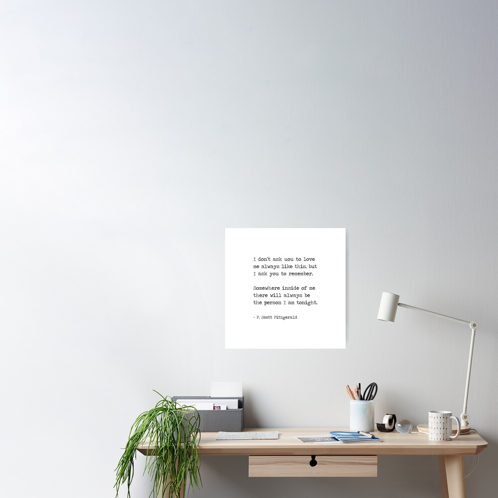 F. Scott Fitzgerald Quote, Love Quotes Poster