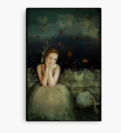 Girl With Swan Canvas Print