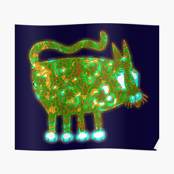 Glow-in-the-dark-cat Green Poster